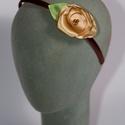 Hajpánt arany színű rózsával, Baba-mama-gyerek, Baba-mama kellék, Barna hajpánt arany színű rózsával - postázásra kész.  , Meska
