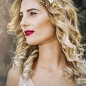 Arany - ekrü hajékszer, Esküvő, Hajdísz, ruhadísz, Arany színű hajékszer gyönggyel, swarovskival, arany színű levelekkel és kézzel készített virág-gyön..., Meska