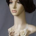 Szépia nyakék II. , Dekoráció, Esküvő, Ékszer, Nyaklánc, Különleges, egyedi nyakék bézs és ekrü virágokkal, csipkével, szalagos kötővel. Megrögzött romantiku..., Meska