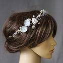 """Gyöngyös hajékszer, menyasszonyi koszorú, valami kék, Esküvő, Hajdísz, ruhadísz, Gyöngyös hajékszer, menyasszonyi koszorú kék virágokkal és gyönggyel.  """"Valami kék.""""  Aprólékos munk..., Meska"""