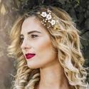 Arany - ekrü hajékszer, Arany színű hajékszer gyönggyel, swarovskival,...