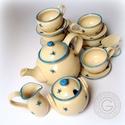 Türkiz pillangók, Konyhafelszerelés, Képzőművészet, Bögre, csésze, Kancsó , Kerámia, Akár teázáshoz, akár kávézáshoz ajánlhatom ezt a gömbölyded vonalvezetésű, finom díszítésű készlete..., Meska