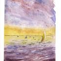 Alkonyi vitorlások, Művészet, Festmény, Akvarell, Festészet, A Balaton ihlette festmény 2019-ben készült. Személyes kedvenceim a vizes tájképek, a hajók, a víz ..., Meska