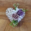 Rózsás szív, Otthon & lakás, Dekoráció, Dísz, Virágkötés, 22cm X 20cm vessző szív alap. Habrózsákkal. Függő dísz, ajtódísz. , Meska