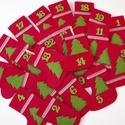 Adventi naptár, Otthon & lakás, Dekoráció, Ünnepi dekoráció, Karácsonyi, adventi apróságok, Adventi naptár, Varrás, Piros csizmácskák filcből, pelenkaöltéssel kézzel öltögetve. Zöld fenyők, kockás szalag és a szám d..., Meska