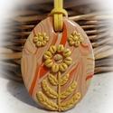Napvirág- medál, sárga, Ékszer, Medál, Sárgás- narancsos kevert alapra sárga virágot formáztam, saját ötlet alapján, kizárólag kézzel készü..., Meska