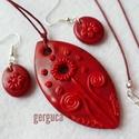 Tűz virága szett - medál és fülbevaló, piros, Ékszer, óra, Ékszerszett, Ékszerkészítés, Nagyon szép meggypiros- bordó kevert alapra piros virágot formáztam, saját ötlet alapján, kizárólag..., Meska
