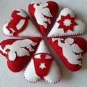Piros- fehér karácsonyi szívek 6 db- os csomag, Dekoráció, Piros és fehér filcből kézzel varrt dekorációs szívek piros cérna akasztóval. Az ár a 6 db..., Meska