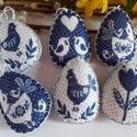 Kékfestő húsvéti filc tojások 6 db- os csomag, Dekoráció, Húsvéti díszek, Hangulatos kék tojáskák filcből, kézzel szegett, flízzel tömött. Méret: 5cm x 7 cm. Az ár az 6 db- r..., Meska