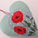 Pipacs szív dekoráció, Anyák napja, Dekoráció, Szép nagy pipacsos szív dekoráció pamutból és filcből.Flízzel tömött. Mérete: kb.15 x 16 ..., Meska