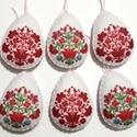 Magyaros húsvéti filc tojások 6 db- os csomag, Dekoráció, Húsvéti díszek, 6 db hangulatos tojáska filcből, kézzel szegett, flízzel tömött. Eleje- háta egyforma. Halvány rózsa..., Meska