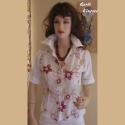 Virágos ing, Ruha, divat, cipő, Női ruha, Blúz, Felsőrész, póló, Varrás, Legyen tiéd ez a pamutvászon anyagból készült rövid ujjú ing.Anyagját hímzett bordó virágok díszíti..., Meska
