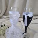 Esküvői pohár szett, csipkés, gyöngyös, Esküvő, Esküvői dekoráció, Menyasszonyi ruha, Nászajándék, Egyedi,különleges pezsgős poharak a nagy napra. Szalagokkal,csipkével,gyöngyökkel menyasszonynak,vől..., Meska