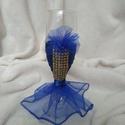 Pezsgős pohár kék, arany, Esküvő, Női ruha, Estélyi ruha, Ballagás, Lánybúcsúra, születésnapra, ballagásra egyedi, különleges ajándék. Pezsgős pohár kék al..., Meska