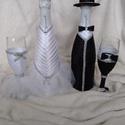 Esküvői szett fehér, fekete, Esküvő, Esküvői dekoráció, Nászajándék, Varrás, Virágkötés, Díszített pezsgős poharak és pezsgős üvegek esküvőre. Egyedi, különleges ajándék  a nagy napra ! A ..., Meska