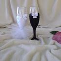 Pezsgős pohár esküvőre, masnis, Esküvő, Esküvői dekoráció, Pezsgős pohár esküvőre, házassági évfordulóra, különleges alkalmakra... Egyedi kézzel készített poha..., Meska