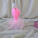 Pezsgős pohár, virágos, rózsaszín, Ruha, divat, cipő, Gyerekruha, Gyerek (4-10 év), Virágkötés, Varrás, Egyedi díszített pezsgős pohár virág mintás rózsaszín ruhában. Kis hercegnőknek szülinapra egyedi, ..., Meska