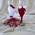Pezsgős pohár bordó, fehér, Esküvő, Férfiaknak, Vőlegényes, Varrás, Virágkötés, Pezsgős pohár esküvőre. Igazán különleges ajándék lehet a nagy napra. Egyedi kézzel készített pohar..., Meska
