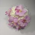 Rózsa, orchidea menyasszonyi csokor, Esküvő, Esküvői csokor, Fehér habrózsákból kötöttem csokrot, halványlila pillangó orchideákkal (paleonapsis) díszítettem, gy..., Meska