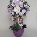 Nelli fácskája, Dekoráció, Otthon, lakberendezés, Anyák napja, Ballagás, Asztaldísz, Húsvéti díszek, Lila és fehér selyemvirágokból készítettem a fa lomkoronáját. Rengeteg virágot kötöttem bele.Orchide..., Meska
