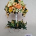 Virágos fa, Otthon, lakberendezés, Dekoráció, Húsvéti díszek, Asztaldísz, Sárga, narancssárga, zöld selyemvirágokból készítettem ezt a dekoratív virágos fácskát. L..., Meska