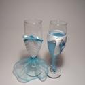 Esküvői pohár, halványkék csillogás, Esküvő, Férfiaknak, Menyasszonyi ruha, Vőlegényes, A lány poharat fehér szaténból és világoskék organzából készítettem. Csipkével és strasszal díszítet..., Meska