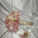 Szárazvirág menyasszonyi csokor, Esküvő, Esküvői csokor, Száraz virágból kötöttem a csokrot. Szárát selyemszalaggal borítottam, masnival díszítettem. Tartós,..., Meska