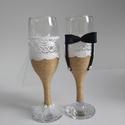 Pezsgőspohár esküvőre, Esküvő, Esküvői dekoráció, Nászajándék, Pezsgős poharakat spárgával tekertem, csipkével díszítettem. A menyasszonynak tüllből kis sz..., Meska