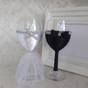 Esküvői borospohár pár, Férfiaknak, Esküvő, Vőlegényes, Sör, bor, pálinka, Boros poharak menyasszonynak, vőlegénynek öltöztetve. Poharak mérete:18cm,220ml, Meska