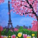 Virágzó Párizs, Dekoráció, Képzőművészet, Kép, Festmény, Feszített vászonra, akrilfestékkel készült egyedi kép. Mérete 30x40 cm. Átvétel személyese..., Meska
