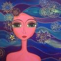 Mandalás lány, Dekoráció, Képzőművészet, Kép, Festmény, Feszített vászonra akril festékkel készült egyedi kép. 50x50 cm. Átvétel személyesen Gödö..., Meska