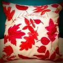 Gigush Design őszi faleveles díszpárna, Egyedi kézzel festett textilfestékkel díszítet...