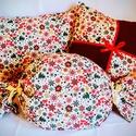 Karácsonyi apró mintás párna szett, Otthon, lakberendezés, Dekoráció, Ünnepi dekoráció, Karácsonyi, adventi apróságok, Stílusos, cuki karácsonyi díszpárna. Most Akciós áron!  A szett tartalma: -1db masnis bordó-mintás p..., Meska