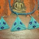 Türkiz háromszögek!SZETT !, Ékszer, óra, Ékszerszett,   Peyote teknikával készítettem ezeket a háromszögeket aprólékos munkával. Japán delica gyöngyből és..., Meska