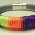 Rainbow  ! Bőr karkötő, Ékszer, óra, Karkötő, Nagyon régóta szemezgetek a bőrrel,most vettem,és készítettem bőr karkötőket.  Már több darabot is t..., Meska