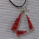 Piros vitorla medál, Ékszer, óra, Medál, Nyaklánc, Nagyon mutatós, egyedi tervezésű hajlított drót medál kölönböző méretű és színátnyala..., Meska