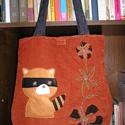 Egyedi mosómedvés táska, Táska, Válltáska, oldaltáska, Kordbársony táska vatelinnel erősítve,pamutvászon béléssel Magassága 38 cm,szélessége 34-36 cm Pánto..., Meska