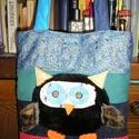 Egyedi baglyos táska, Táska, Válltáska, oldaltáska, Egyedi baglyos táska mindennapi használatra Mérete 30x32 cm,pántok hossza 62 cm Vatelinnel bélelt,te..., Meska
