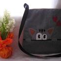 Egyedi cicás táska, Táska, Válltáska, oldaltáska, Egyedi női táska cuki cicával Magassága 38 cm,szélessége 34-36 cm Egy belső zsebe van Anyaga erős bú..., Meska