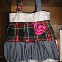 Egyedi romantic/shabby táska, Táska, Válltáska, oldaltáska, Varrás, Egyedi női táska romantikus stílusban Magassága 40 cm,szélessége 34-50 cm Pántok hossza 76 cm,bőség..., Meska