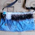 Szőrmés farmer táska, Táska, Válltáska, oldaltáska, Műszőrme felhasználásával készült egyedi farmer táska Magassága 24 cm, szélessége 42 cm Pánt hossza ..., Meska