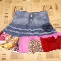 Egyedi hippi/gipsy farmerszoknya M - es, Ruha, divat, cipő, Készen vásárolt Denim szoknyát tettem egyedivé a bohém darabok kedvelőinek Hossza 46 cm Derékbőség 8..., Meska