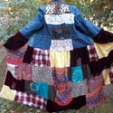 Egyedi női patchwork, hippi, gipsy kabát M - es, Ruha, divat, cipő, Női ruha, Kabát, Garantáltan egyedi kabát a különleges darabok kedvelőinek Hossza 140 cm Mellbőség 100 cm Derékbőség ..., Meska