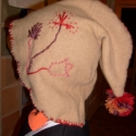 Sapka hímzett gyapjú, Kendő, sál, sapka, kesztyű, Nagyon szép, puha, gyapjú fonallal hímzett gyagjú sapi. Felnőtt méret, bár, megpróbáltam a ..., Meska