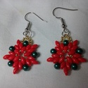 Mikulásvirág - gyöngy fülbevaló, Ékszer, Fülbevaló, Japán gyöngyök felhasználásával fűztem azt a kifejezetten karácsonyi hangulatot idéző fül..., Meska