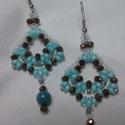 Tiffany gyöngy fülbevaló, Ékszer, Fülbevaló, Japán gyöngyökből fűzött fülbevaló,gyönyörű színösszeállításban. Nőies, elegáns, k..., Meska