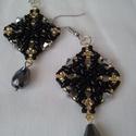 Éjjeli csillogás - fekete arany elegáns gyöngy fülbevaló, Ékszer, Fülbevaló, Minőségi gyöngyből készült elegáns, alkalmi viseletnek is. Fekete -arany színben, mérete 4,5 cm akas..., Meska