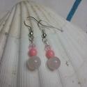 Angyali szeretet- rózsakvarc fülbevaló, Ékszer, Fülbevaló, Finom , édes kis fülbevaló, szeretet hozó. Rózsakvarc 6 mm, rózsa korall 4 mm, és valódi Swarovski k..., Meska