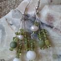 Rügyek - peridot és jáde fülbevaló, Ékszer, Fülbevaló, Tavaszias színekben, friss zöld, üde - peridot (olivin), jáde , gyöngy fülbevaló. Teljes hossza 5,5 ..., Meska