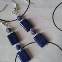 Tenger habjain - lapis-lazuli és szodalit  fülbevaló, Gyönyörű kék , 1 - 1,2 cm lapis téglalapok é...
